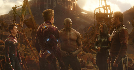 Spider-Man, Iron Man, Drax, Mantis and Star-Lord