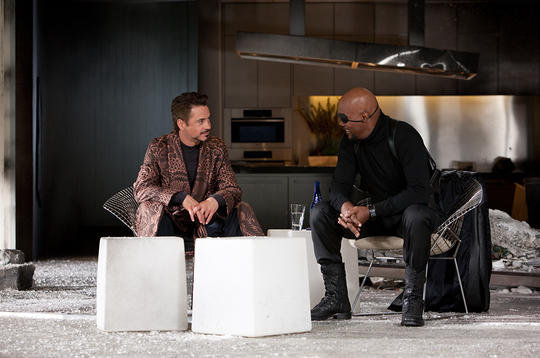Tony Stark talking with Nick Fury