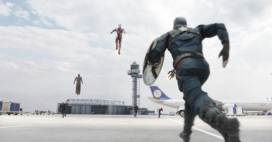 Iron Man (Tony Stark) fighting Captain America