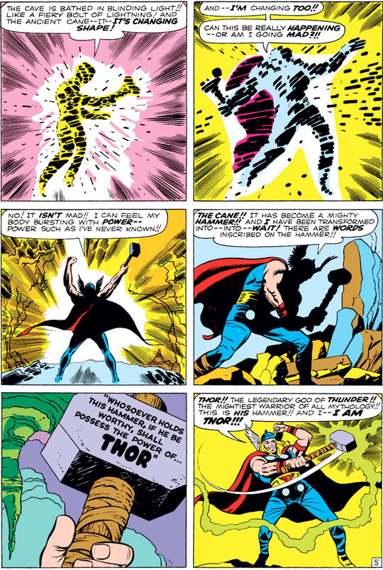 Comic Panel Depicting Donald Blake becoming Thor