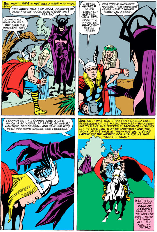 Thor saving the innocent from Hela
