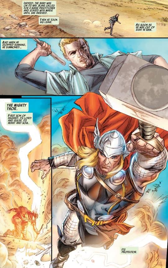 Blake summoning Thor