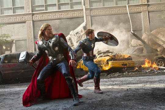 Thor & Captain America in Battle