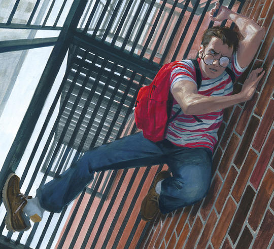 Peter Parker clinging on to the bottom of a metal fire escape to a building
