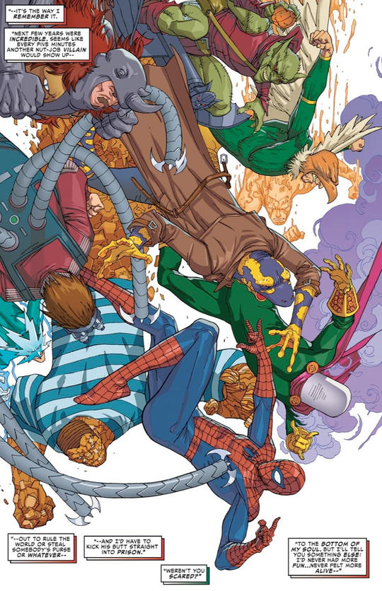 Spider-Man fighting many of his foes at once