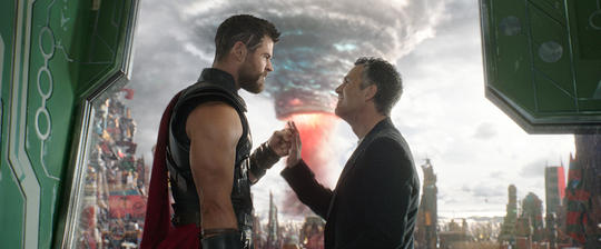 Bruce Banner and Thor establish a friendship on Sakaar