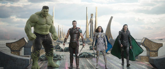 Hulk teams up with Thor, Valkyrie and Loki