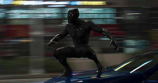Black Panther on the hood of a car