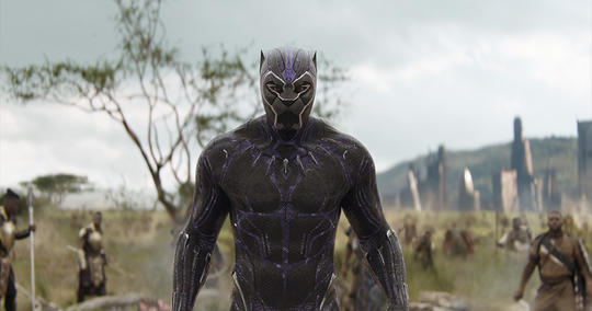 Black Panther (T'Challa) preparing to face Thanos and his children