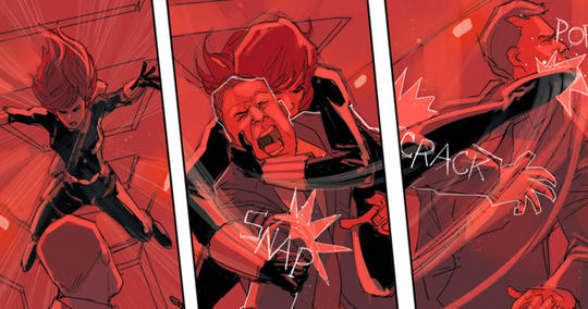 Natasha Romanoff uses her enhanced skills as the Black Widow.