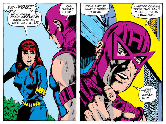 Hawkeye attempts to reconnect with Black Widow.