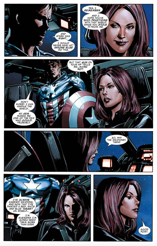 Back Widow with Bucky Barnes after he takes over the mantle of Captain America.