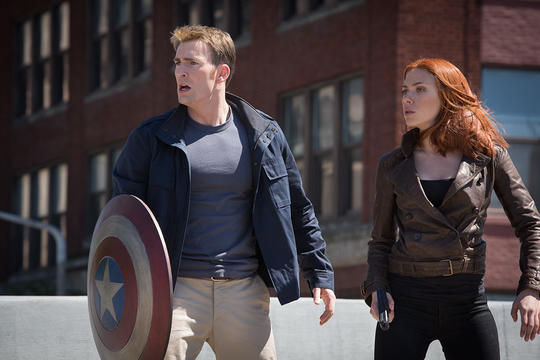 Natasha on the Run with Captain America during the fall of S.H.I.E.L.D.