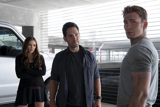 Scarlet Witch, Ant-Man, and Captain America