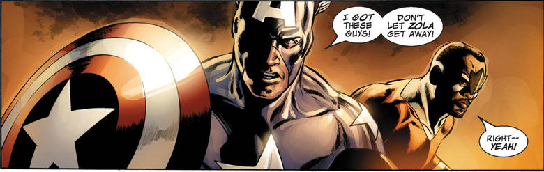 Falcon fights alongside Bucky Barnes as Captain America.