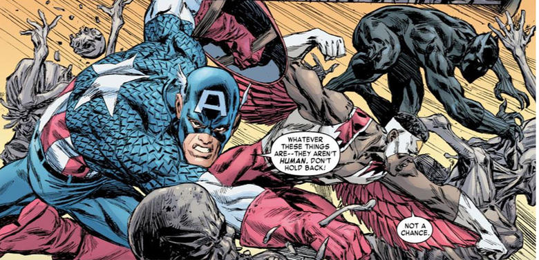 Falcon fights zombies with Cap and Black Panther