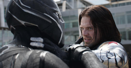 Winter Soldier (Bucky Barnes) fighting Black Panther (T'Challa)