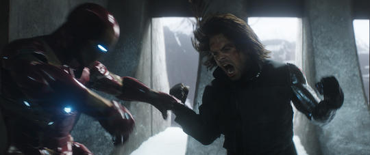 Winter Soldier (Bucky Barnes) fighting Iron Man (Tony Stark)