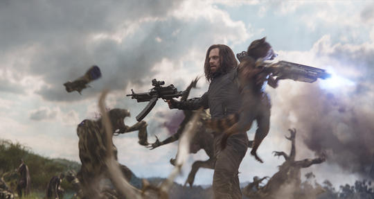 Winter Soldier (Bucky Barnes) fighting with Rocket at the battle of Wakanda