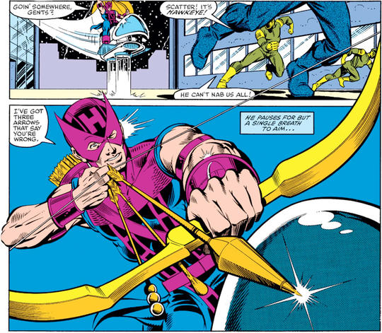 HAWKEYE (1983) #1, p. 4, second panel