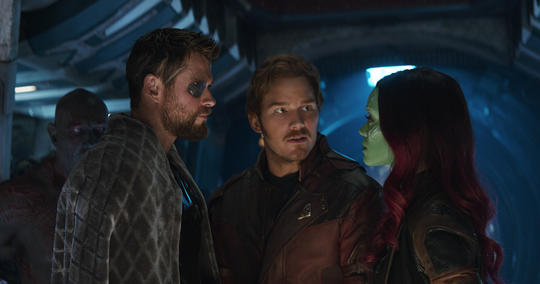 Gamora, Thor, Drax, and Peter Quill (Star-Lord)
