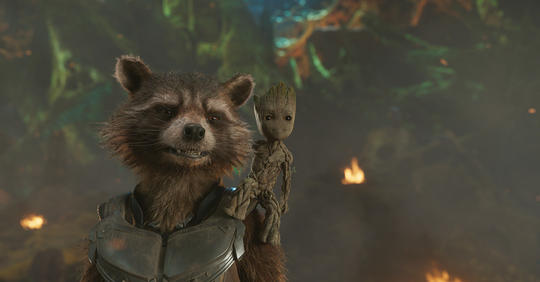 Rocket Raccoon with Baby Groot on Shoulder
