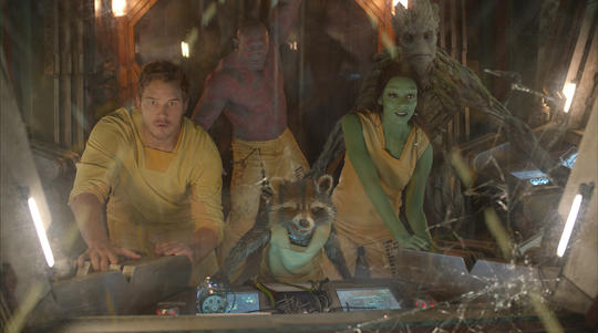 Drax escaping Kyln with the Guardians of the Galaxy