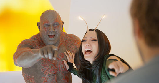 Drax befriending Mantis