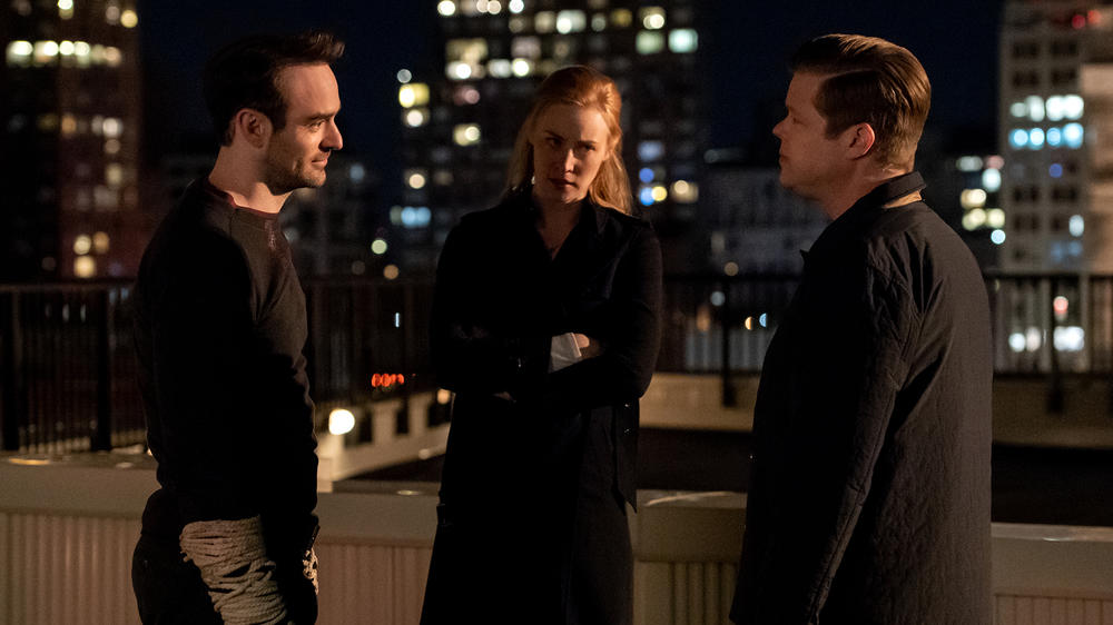 "Charlie Cox as Matt Murdock, Deborah Ann Woll as Karen Page, and Elden Henson as Foggy Nelson in ""Marvel's Daredevil"" Season 3"