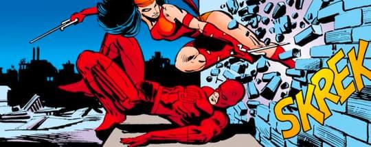 Elektra faces off against Daredevil.
