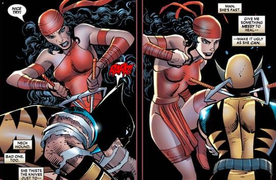 Elektra faces off against Wolverine