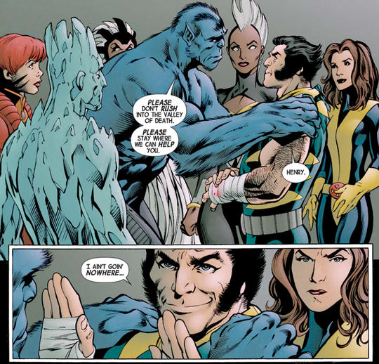 Logan tries to reassure the X-Men that he'll regain his healing powers.