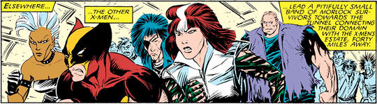 the other X-men lead a band of Morlock surivors