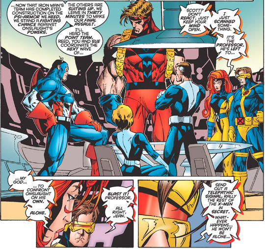 X-Men fighting against Onslaught