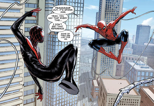 Miles and Peter web slinging together