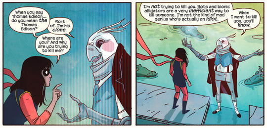 Ms. Marvel (Kamala Khan) and Bird clone of Thomas Edison