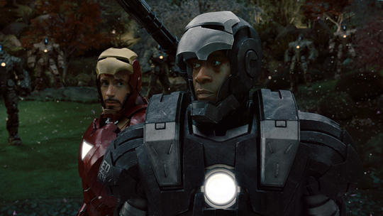 War Machine (James Rhodes) and Iron Man (Tony Stark)