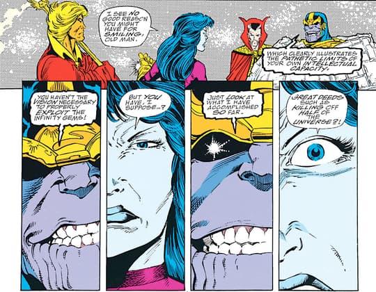 Nebula fighting with Thanos
