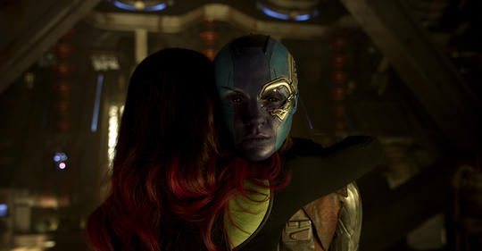 Nebula and Gamora hugging