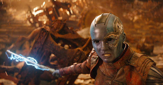 Nebula fighting Thanos on Titan
