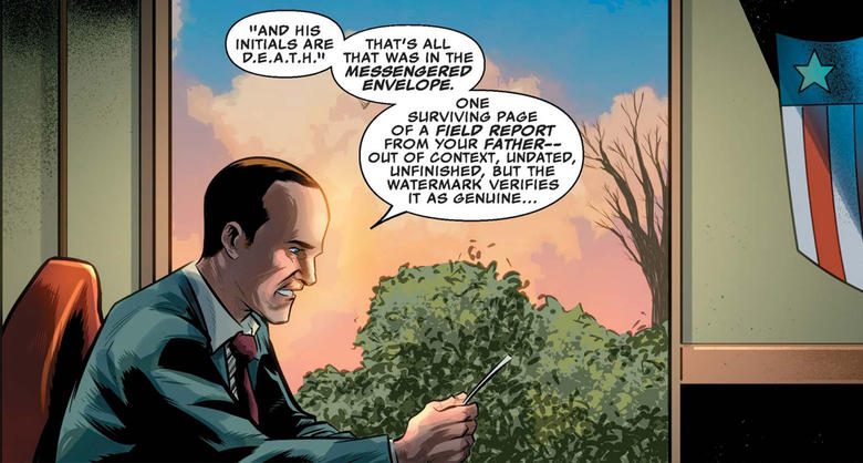 Coulson reading a report