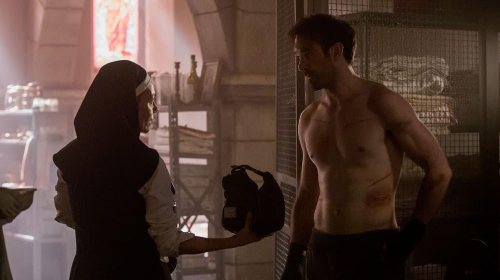 "Joanne Whalley as Sister Maggie and Charlie Cox as Matt Murdock in ""Marvel's Daredevil"" Season 3"