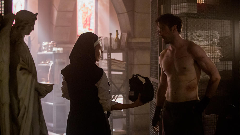 "Joanne Whalley as Sister Maggie and Charlie Cox as Matt Murdock in ""Marvel's Daredevil"" Season 3"