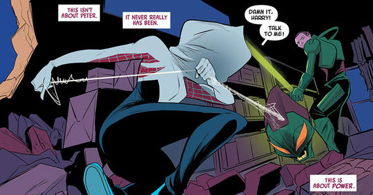 Spider-Woman fights Harry Osborne