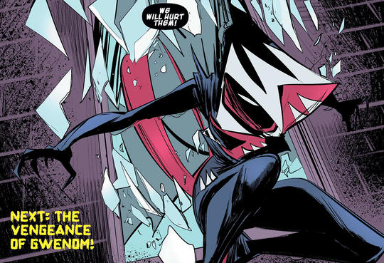 Gwenom, the Venom symbiote merged with Spider-Woman