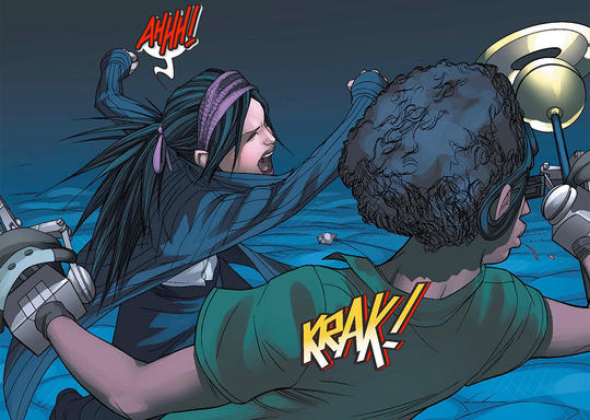 Nico punches Alex Wilder, who betrayed the Runaways.