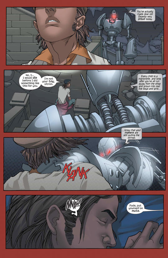 Victor Mancha has a nightmare about his father, Ultron.