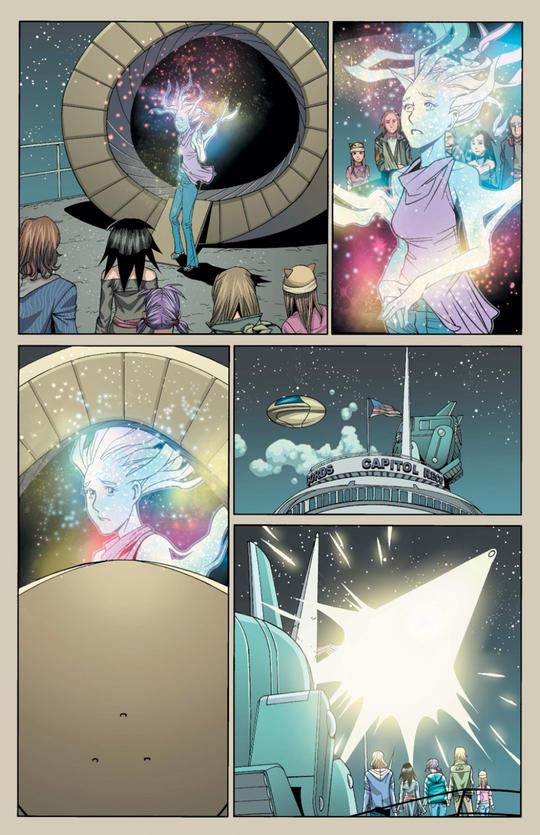 Karolina leaves Earth to travel into space with Xavin.