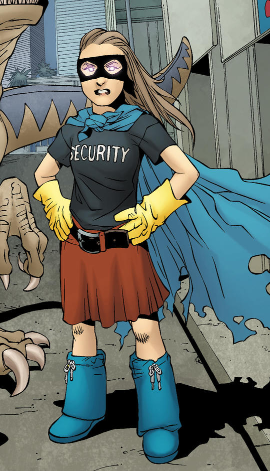 Molly Hayes in a makeshift superhero costume.