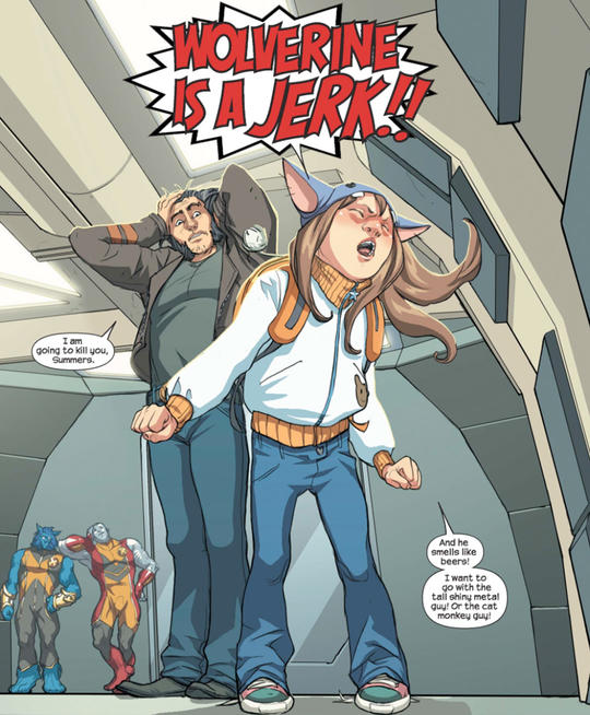 Molly Hayes calling Wolverine a jerk.